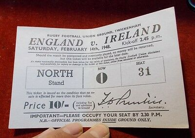 1948 Rugby Union Ticket. England V Ireland  - Twickenham.