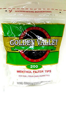 Golden Valley Menthol Filter Tips 200 Pieces Resealble Bag NEW Wholesale