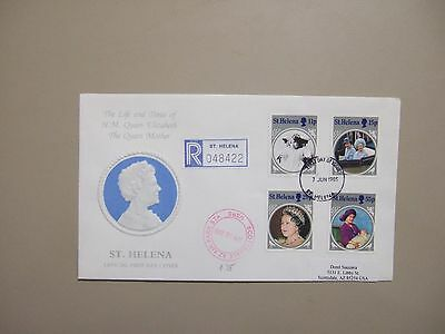 St Helena registered fdc with set