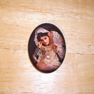 Vintage Lady In Lace Glitter Unset Handmade Art Bubble Cameo Cabochon 30X40mm