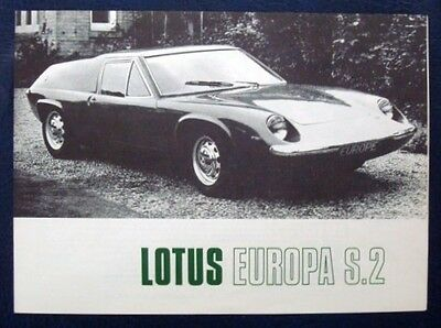 LOTUS EUROPA S2 Sports Car USA Specification Sales Brochure c1969