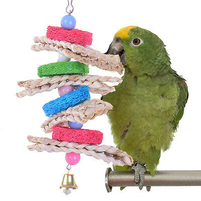 Bird Bites Parrot Climb Chew Toy Bell Swing Cage Hanging Rope Cockatiel Parakeet