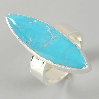 Size 6.8 Marquise Silver Plated Blue Howlite Turquoise Ring T019149