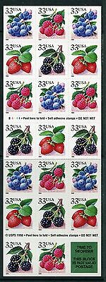 USA Scott 3297b 33c Berries Booklet of 20, NH US