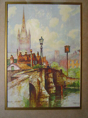 F Robson Coloured Lithograph print of Norwich Cathedral