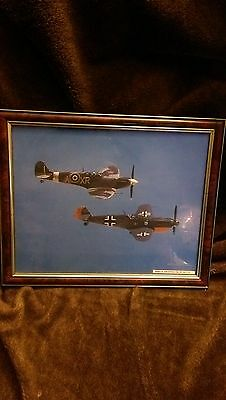 """German 'me 109' & spitfire vb picture in frame,great condition size 40cm by 32"""""""