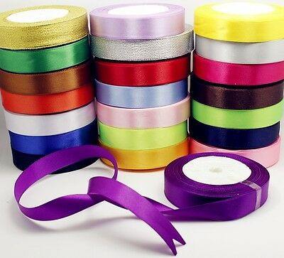 25 Metres Roll Full Reel Premium Sided Satin Ribbon 10,15,25 & 38mm