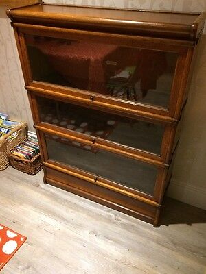 Antique Globe Wernicke  Three Tier Stacking Glazed Library Bookcase Shelves