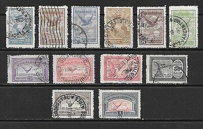Argentina. 1928. Airs Used Group Of 12 Stamps To 1 Peso.