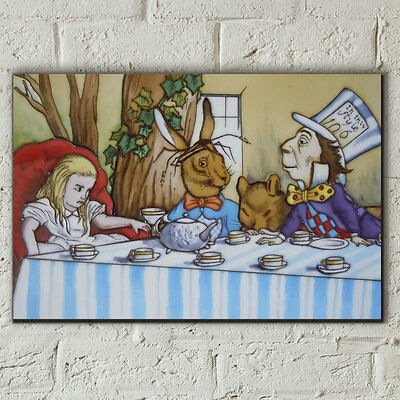"HAND PAINTED CERAMIC WALL TILE ""ALICE IN WONDERLAND"" WALL ART 8"" x 12"" NEW 05823"