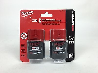 NEW! Milwaukee 48-11-2411 M12 REDLITHIUM Compact Battery Two Pack