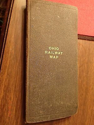 1914 Antique Ohio Railroad Map, Foldout Map on Linen