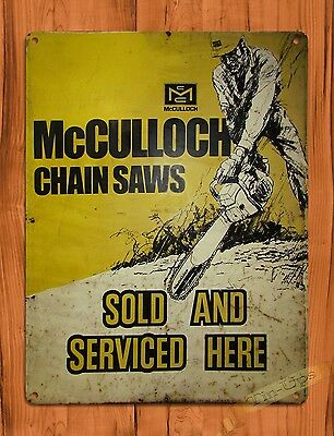 "TIN-UPS TIN SIGN ""McCulloch Sales & Service"" Chain Saw Garage Rustic Wall Decor"