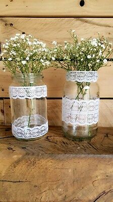 10 X Mixed Glass Lace Decorated Jars Vintage Wedding Centrepiece Shabby Chic