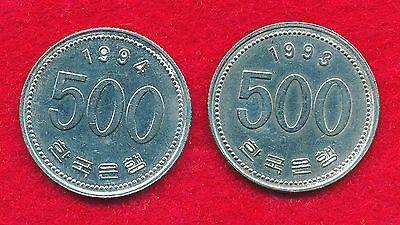Korea 1993 & 1994 500 WONG (2 Coins)  Copper-Nickel