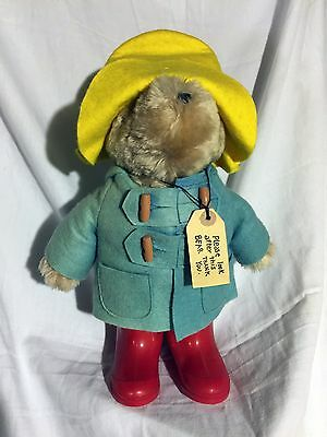 "Vintage Paddington Bear Darkest Peru Eden Toys 14"" W/ Red Boots and Yellow Hat"