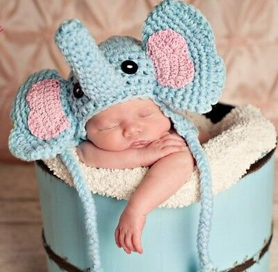 Crochet Newborn  Baby Elephant Photo shoot prop hat