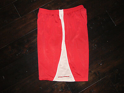 UNDER ARMOUR Loose Fit Boys Red & White Athletic SHORTS Size Youth XL