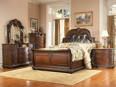 ROYCE - 5pcs Traditional King Sleigh Upholstered Large Bedroom Set New Furniture
