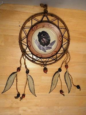 Native American Bison Buffalo Wind Chimes Dream Catcher Glass Plate Feathers Old