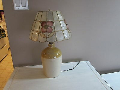 Antique Stone Ware Liquor Jug Lamp. C.g.adams, Merchant. Kington. Powell & Shade