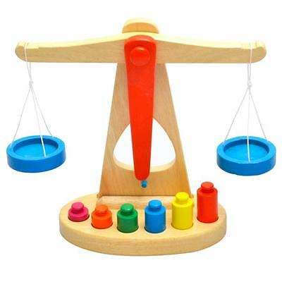 Wooden Balance Scale Early Learning Weight Child Kids Intelligence Toys Gifts