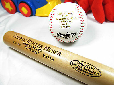 Personalized Engraved Baby Announcement Bat & Baseball New Born Keepsake Gifts
