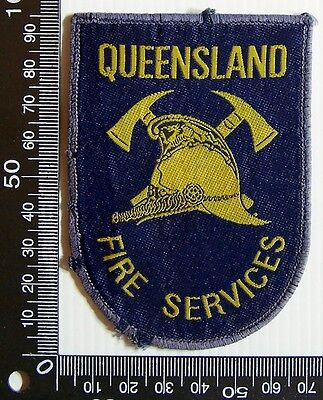 Vintage Queensland Fire Services Embroidered Patch Woven Cloth Sew-On Badge