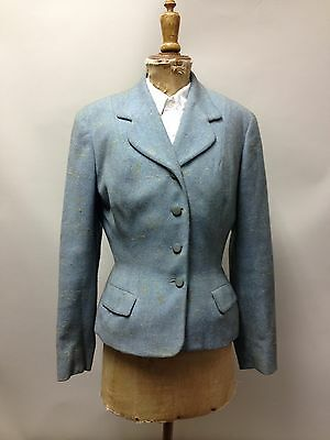"1940s Vintage Womens Jacket Blazer  Blue Yellow Flecks Wool Fashion Sport 36"" 12"