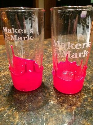 2 Makers Mark Etched Cocktail High Ball Glasses Red Drip Wax Kentucky Bourbon