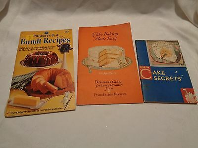 3 vintage recipe CAKE booklets 1931 Swans Down 1927 Airy Fairy 1974 Pillsbury