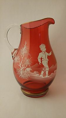 """LARGE 10"""" Mary Gregory Cranberry Glass Jug / Pitcher With Gold Trim"""