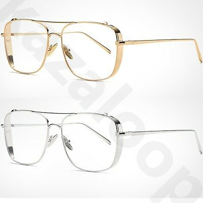 Metal Large Square Frame Clear Lens High Quality Fashion Glasses