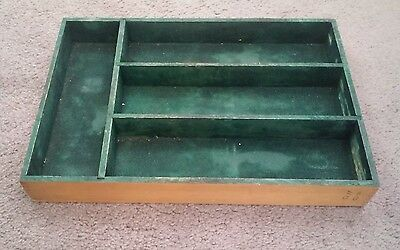 Primitive Antique Vintage Divided Cutlery Tray Felt Lined Factory Dovetail