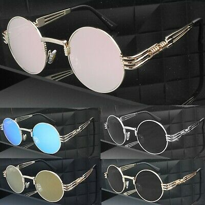 Unisex Round Flat Lens Quality Steampunk Metal Goggles Sunglasses