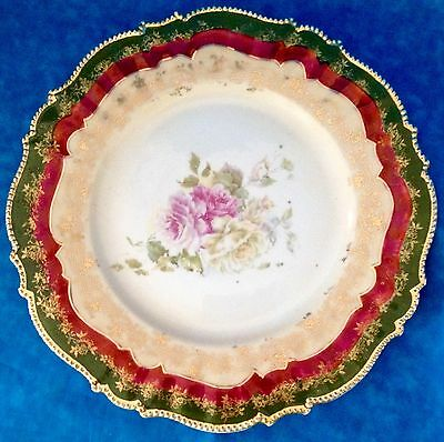 """RS Germany 9"""" Plate Green Rim Gold Stenciling Floral Red Mark Royal Coburg Crown"""