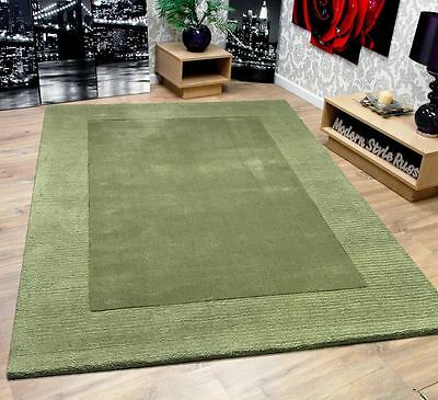 RRP £104.95 New Soft Touch 100% Luxury Wool Green Border Large Rug 120x170cm