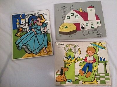 3 Vintage Playskool Wooden Puzzles Disney - wood