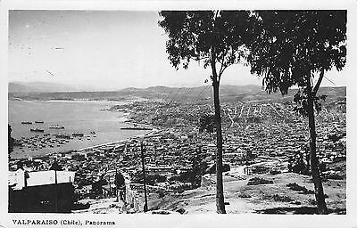 1950's RPPC ~ Panorama view #2 of Valparaiso, CHILE ~ Card mailed in 1954