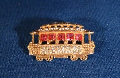 Vintage San Francisco Trolley Pin Brooch with Pink and Clear Rhinestones