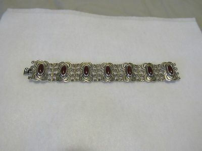 hand made sterling silver bracelet with carnelian stones
