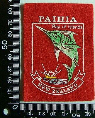 Vintage Paihia New Zealand Embroidered Souvenir Patch Woven Cloth Sew-On Badge