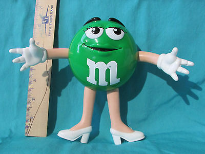 "Vintage GREEN M&M's GIRL Figure 6"" Tall Bendy Limbs (c) Mars White Heels&Gloves"