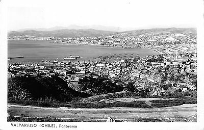 1950's RPPC ~ Panorama view #1 of Valparaiso, CHILE ~ Card mailed in 1954