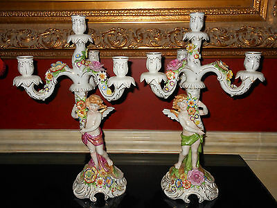 Beautiful Pair of Antique Dresden Candelabra