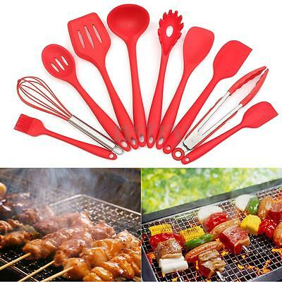 10Pcs Non-Stick Red Silicone Heat Resistant Cooking Kitchen Utensils Tool Set AU