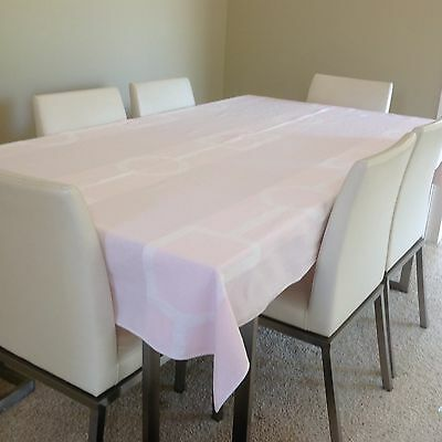 Authentic Vintage French Basque region tablecloth plus napkins. Pink and white