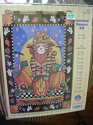 Design Works Crafts Jeweled Banner Kit #9537 FALL CAT NEW