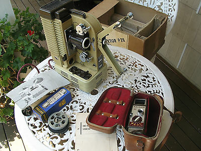 VINTAGE  8MM EUMIG  FILM PROJECTOR PLUS BELL & HOWELL 252 16mm WIND- UP CAMERA