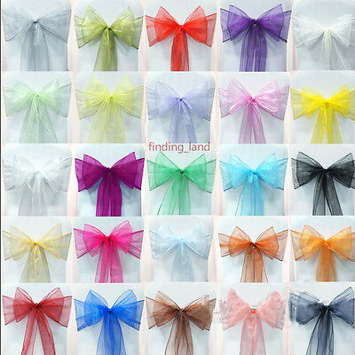 25pcs Organza Sashes Chair Cover Fuller Bow Sash Wider Sashes Wedding Party